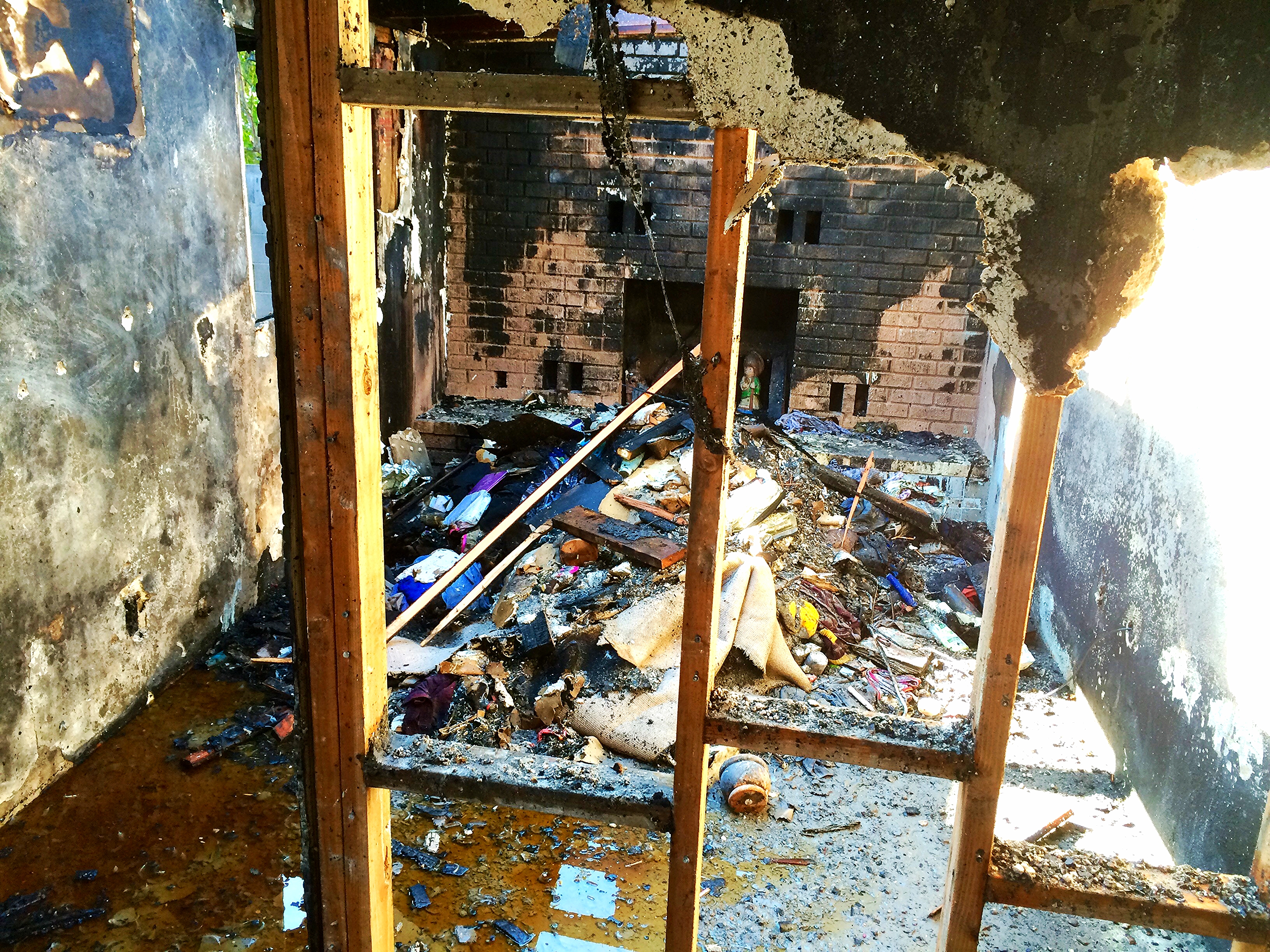 Burnt room of a house.
