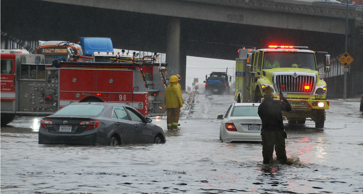 Los Angeles Firefighters came to the aid of several motorists stranded in their vehicles by rising stormwater
