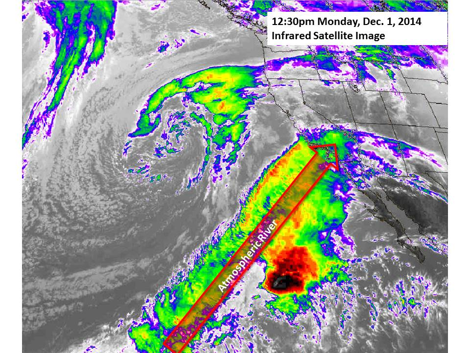 Infrared Satellite Image showing weather moving over Southern California.