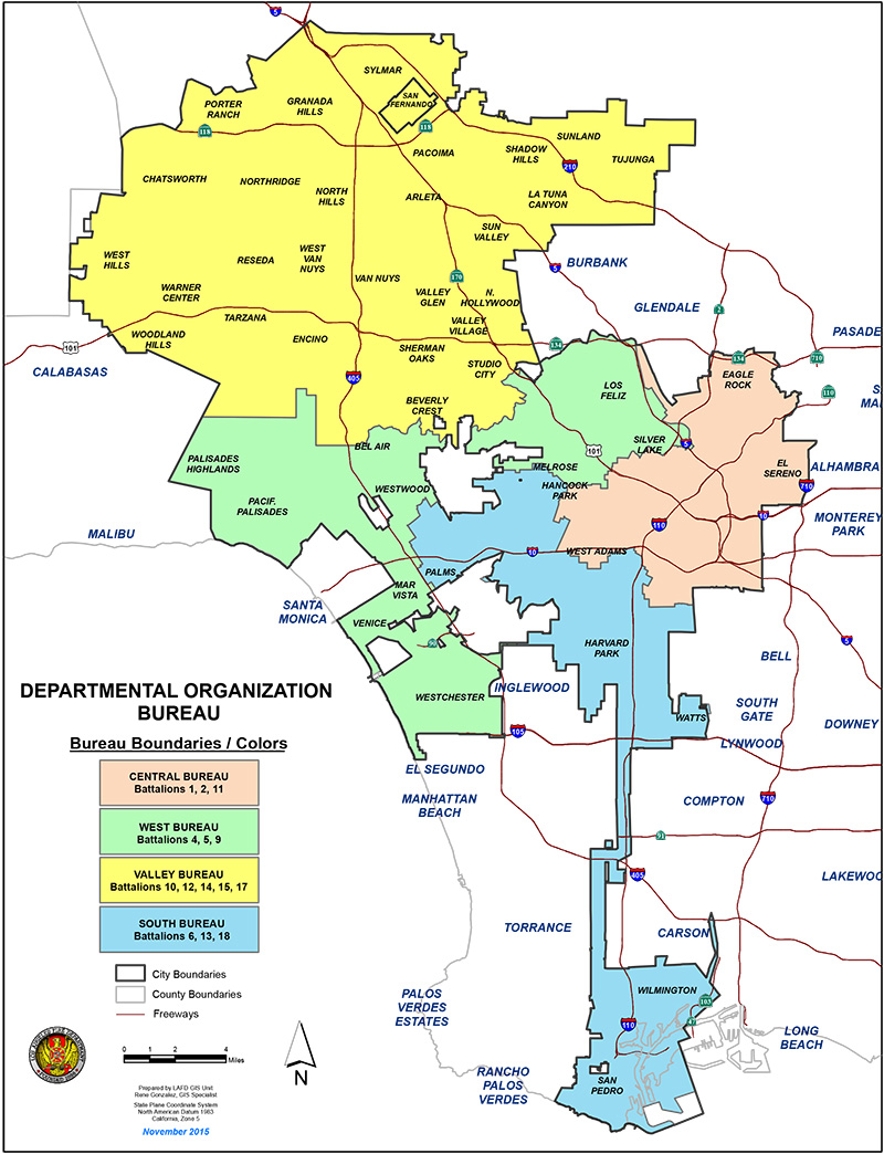 LAFD Geographic Bureau Map