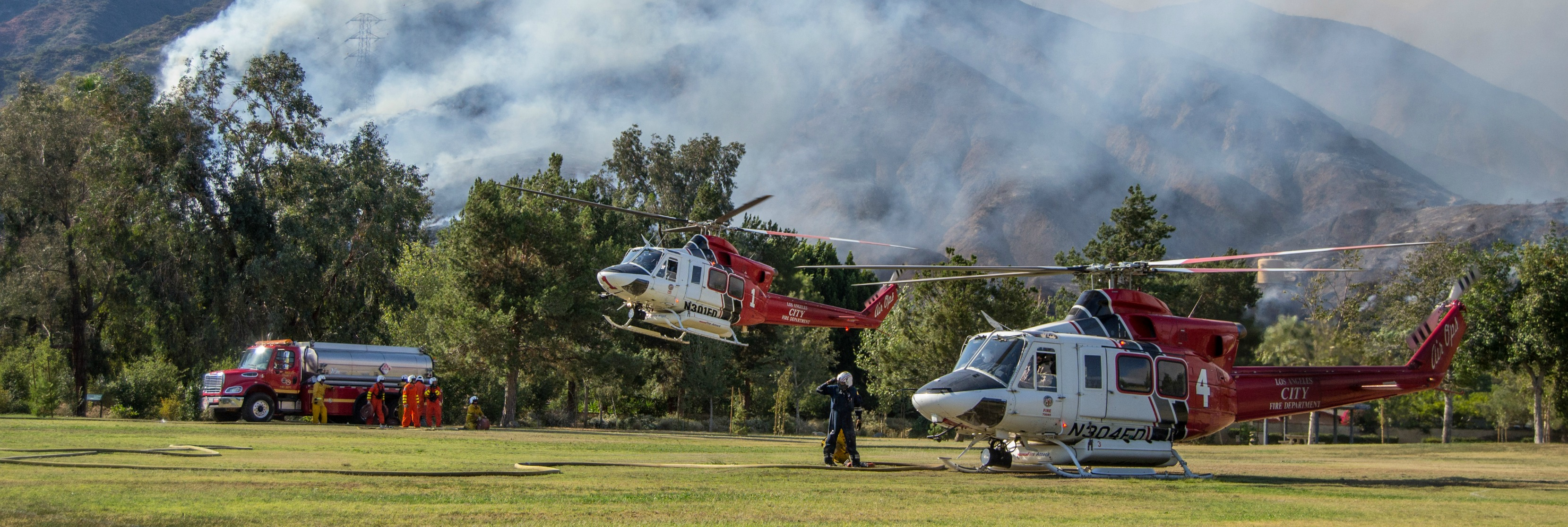 LAFD Air Ops refilling during the San Gabriel Complex Fire 6.20.16