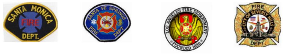 Logos: Santa Monica Fire Department, Santa Fe Springs Fire Department, Los Angeles Fire Department, Beverly Hills Fire Department