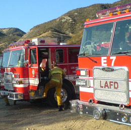 A line-up of the LAFD apparatus