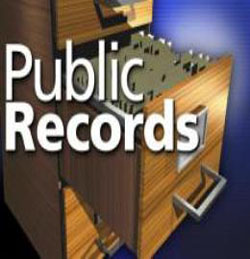 A public records folders in a file cabinet
