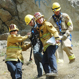 LAFD first responders help a hiker in distress