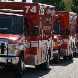 A line of ambulances