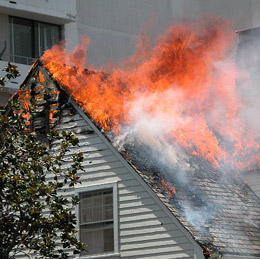 The roof of a house is on fire