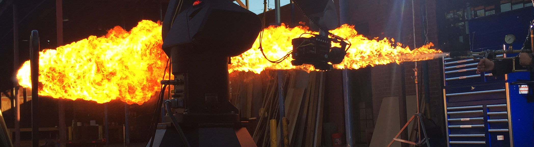 Fire special effects on film set