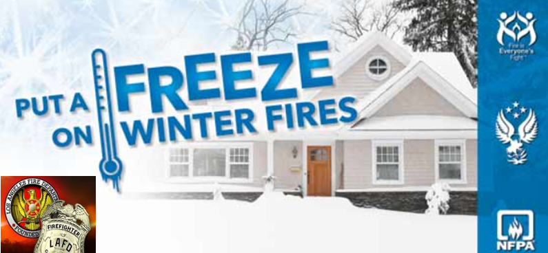 House covered in snow with the words Put a FREEZE on Winter Fires.