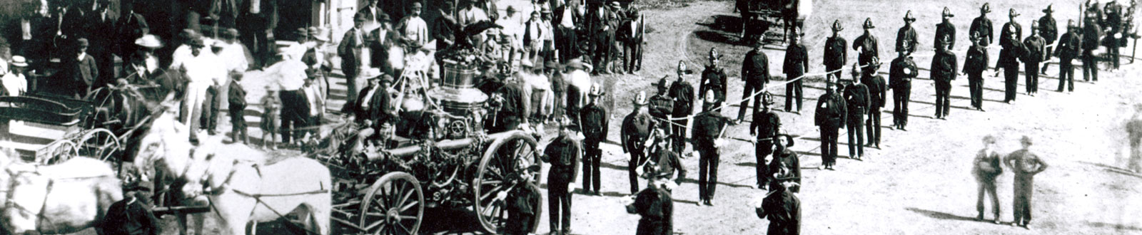 Historical photo of LAFD with horse-drawn vehicles