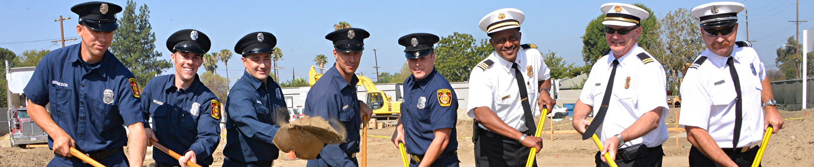 A group of LAFD men at a groundbreaking ceremony