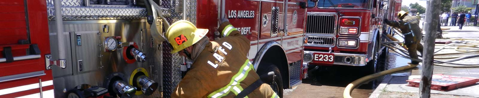 LAFD Firefighter with truck