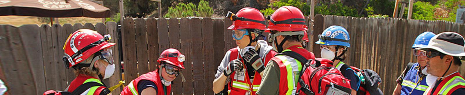 A group of CERT volunteers gear up