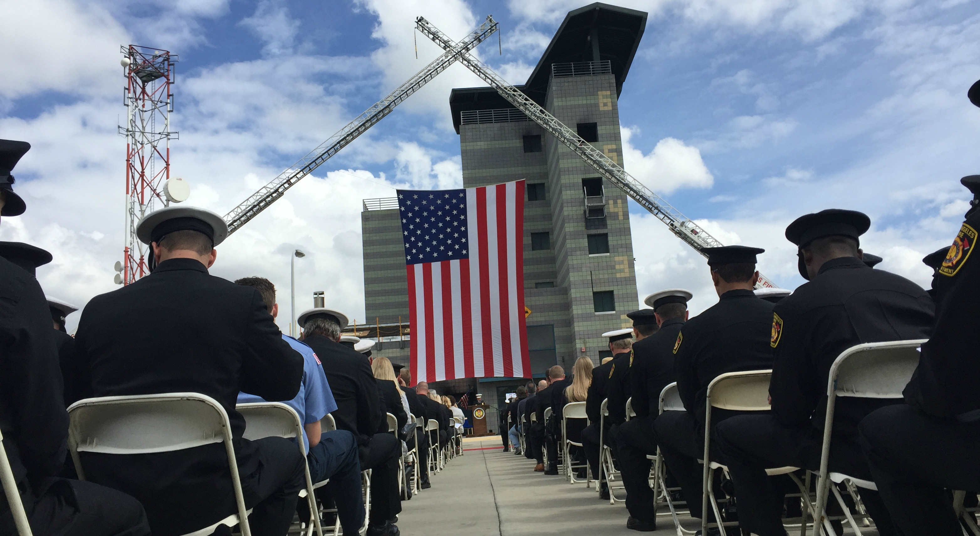 First responders from throughout Southern California pay their final respects Friday to LAFD Capt. Sean Stilson, 44, who passed away April 22