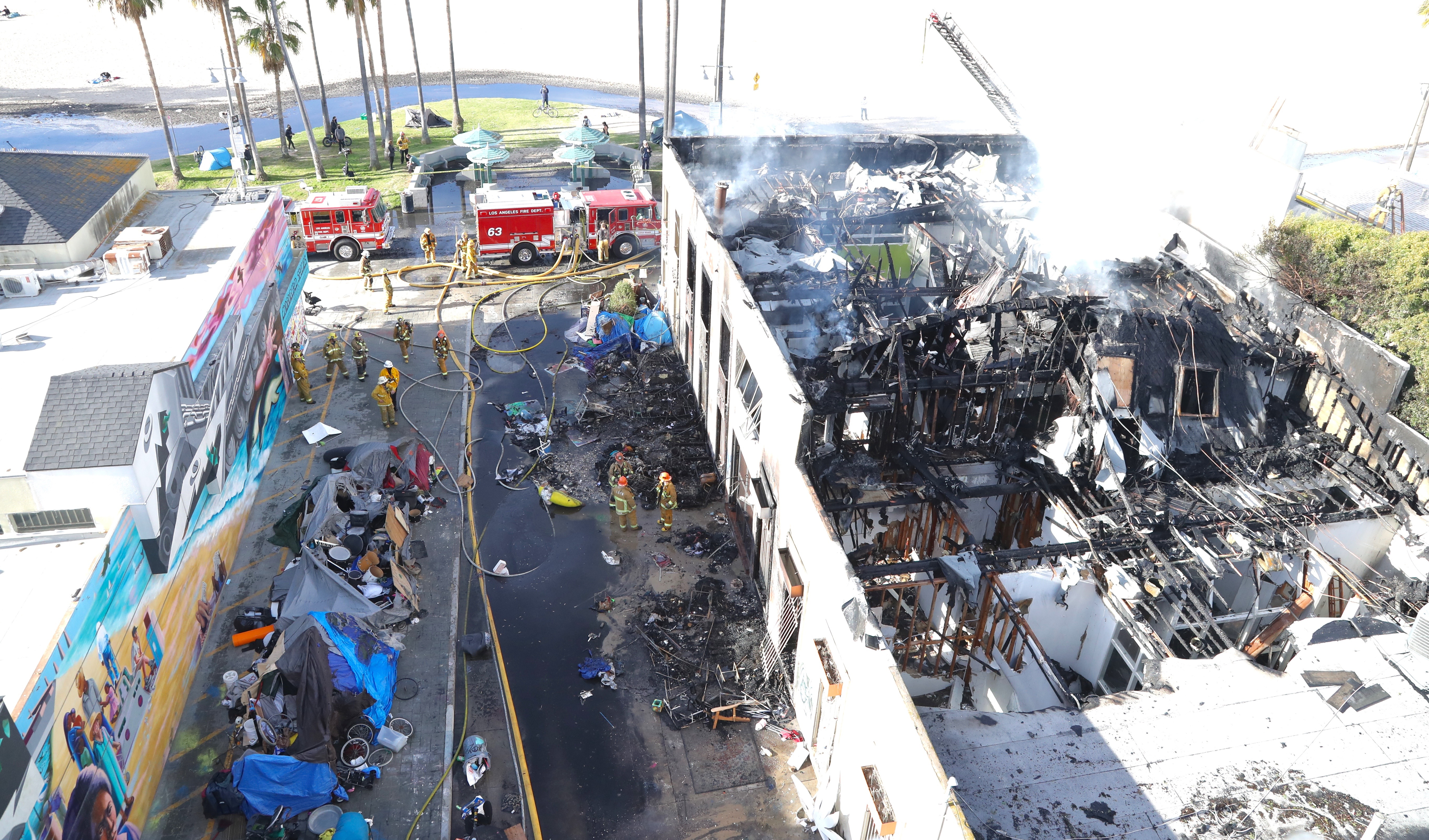 Overhead View of January 13, 2021 Commercial Building Fire in Venice