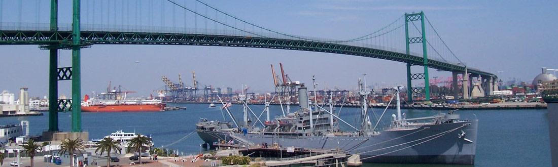 The Vincent Thomas Bridge reaching Terminal Island