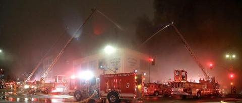 LAFD Holds Fire To One Business near Downtown L.A.