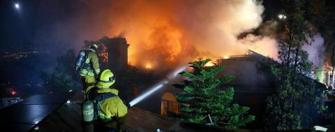 LAFD Crews Battle Flames at Mt. Washington House Fire