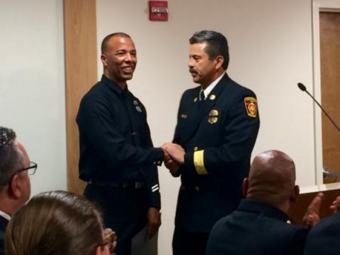 Fire Chief Terrazas Thanks LAFD Firefighter Brent Hartwell
