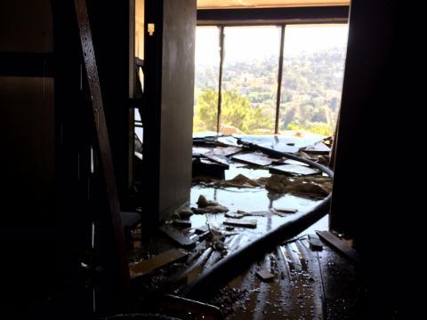 Interior view of fire room with broken window