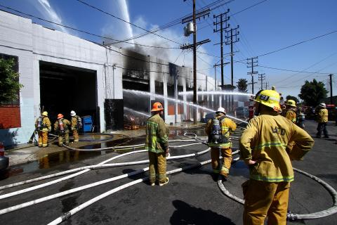 LAFD crews battle a September 19, 2018 fire in Boyle Heights that sent three firefighters to the hospital.