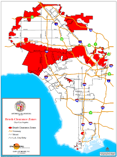 Los Angeles map of brush areas in red