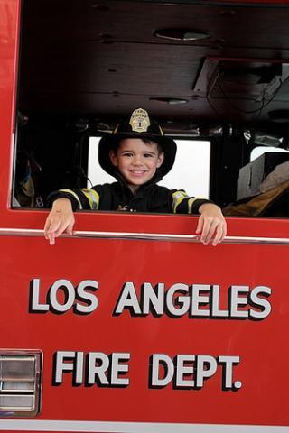 Boy in Fire Engine