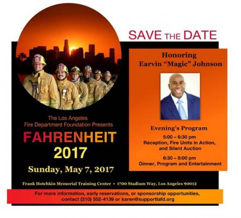 """Photo of Firefighters and Magic Johnson. Header states """"Save the Date""""."""