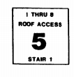 Stairwell sign showing floor 5, stairwell 1, stairwell serves floors 1 through 8 and has roof access