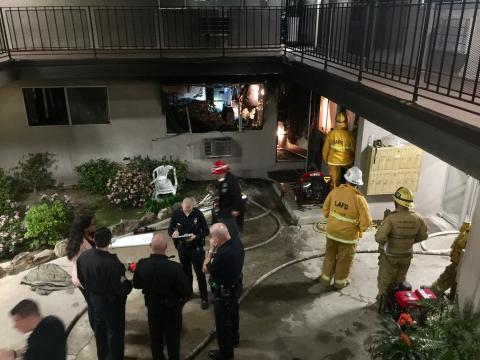 LAFD and LAPD at the scene of a deadly April 1, 2017 apartment fire in Tujunga