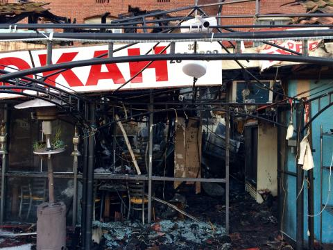 Charred business in strip mall