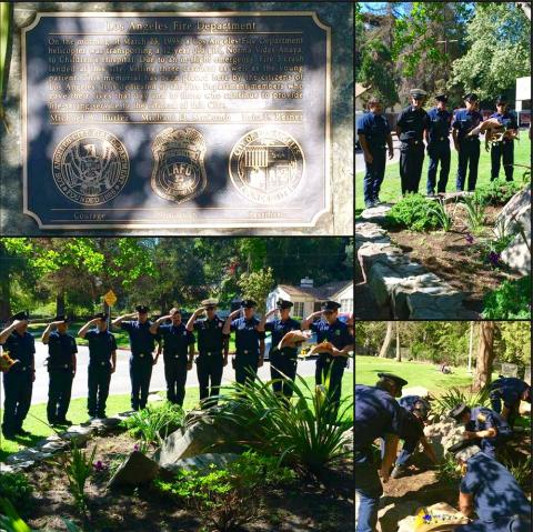 Collage of photos. LAFD members lined up saluting.