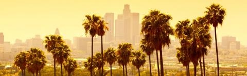 Los Angeles skyline on a hot day