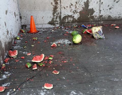 Watermelons blown up by fireworks.