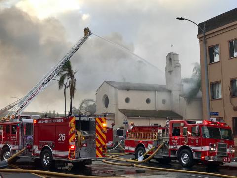 Los Angeles Firefighters Battle Stubborn Flames at a Vacant Historic House of Worship