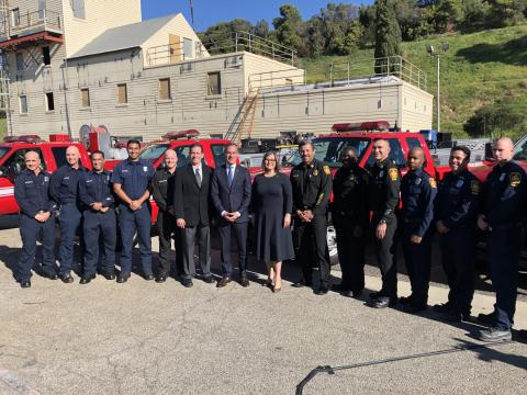 LAFD Chief Ralph Terrazas and LAFD Firefighter/Paramedics assigned to Fast Response Vehicles are joined by Mayor Eric Garcetti and Councilmember Monica Rodriguez.