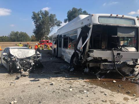Bus and Auto involved in collision