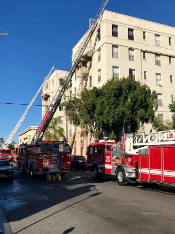 Firefighters extinguished the flames inside one unit of a Koreatown apartment building