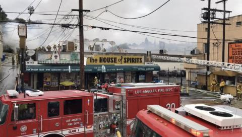 Firefighters Extinguish a Greater Alarm Fire in Echo Park