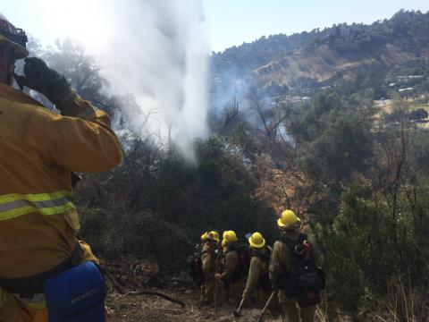 Crew of firefighters making way down hill towards plume of smoke