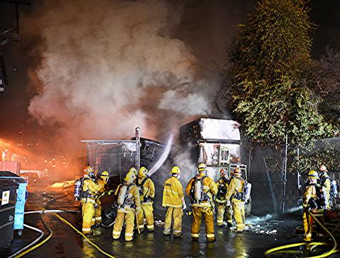 LAFD Crews Quench Flames Behind Sherman Oaks Spa Firm