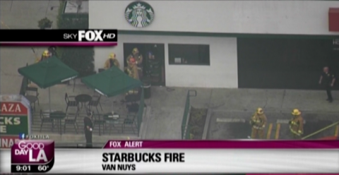 Helicopter view from Sky Fox HD of a Van Nuys Starbucks with fire and police out front.