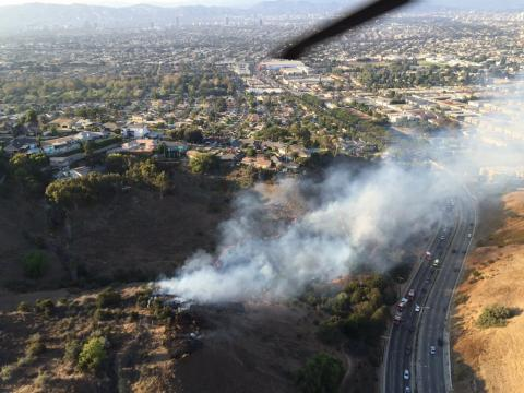 Aerial view of brushfire in Baldwin Hills