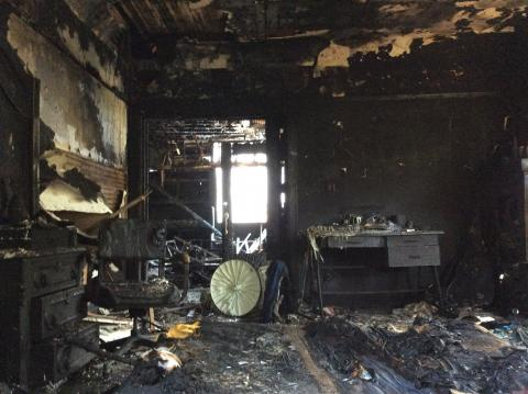 Inside of burnt home