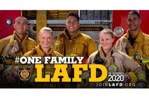 recruitment image with firefighters