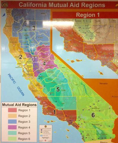 Map of California Mutual Aid Regions