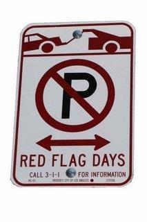Red Flag no parking sign