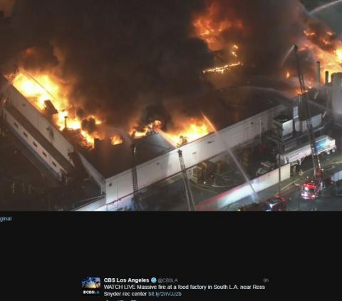 Overhead view of Major Emergency commercial fire