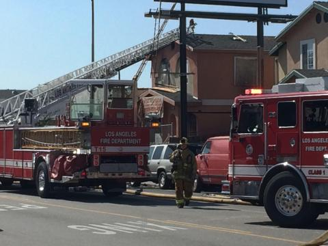 LAFD Battles Fire in South L.A. Residential Duplex