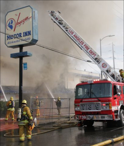 LAFD Battles Flames at Abandoned Van Nuys Motel